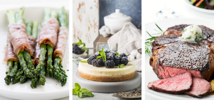 Three-Keto-Foods-Asparagus-Steak-and-Cheesecake