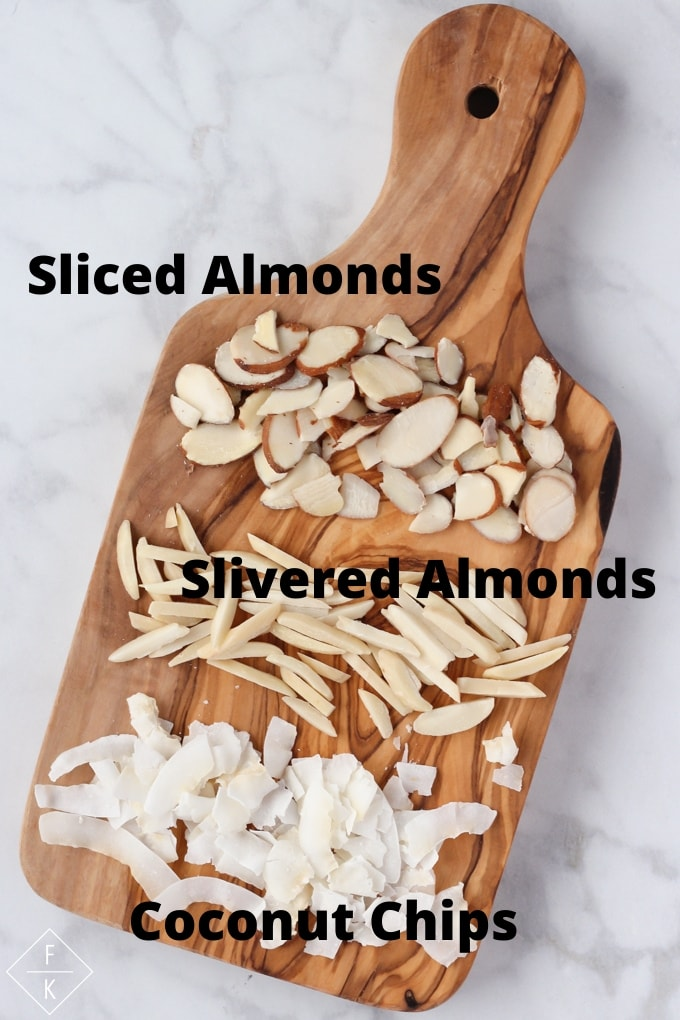 Shape of Slivered And Sliced Almonds, And Coconut Chips