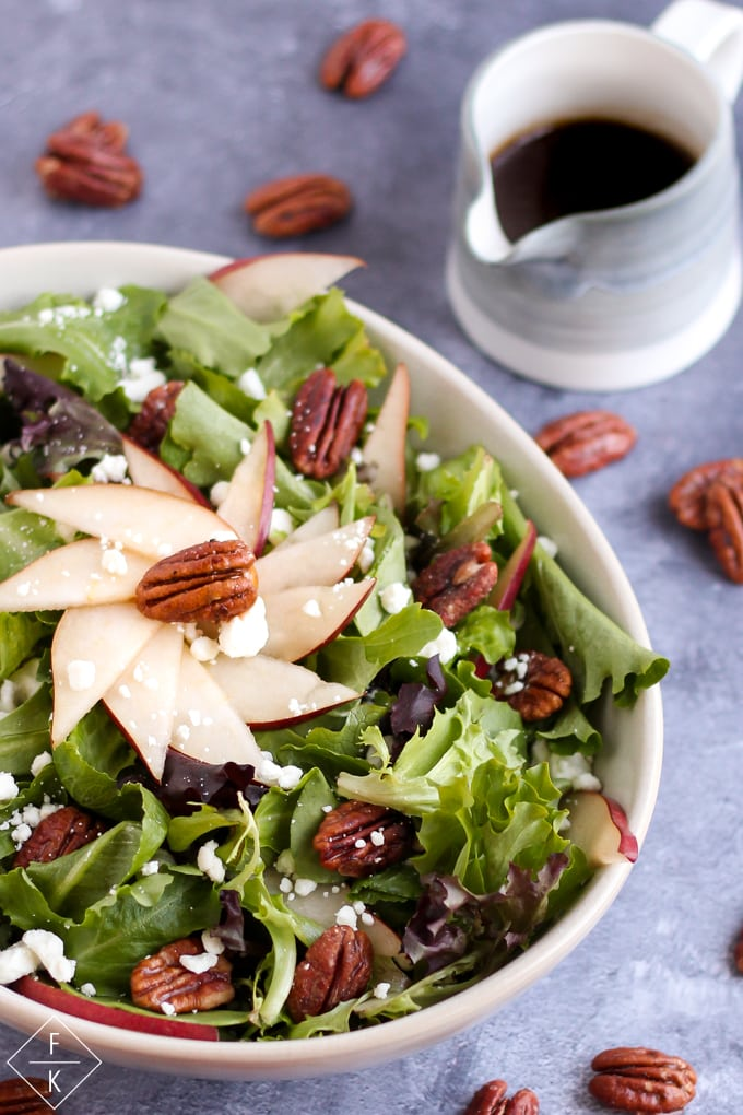 Keto Glazed Pecan Salad With Goat Cheese, Pear, and Maple Balsamic Vinaigrette